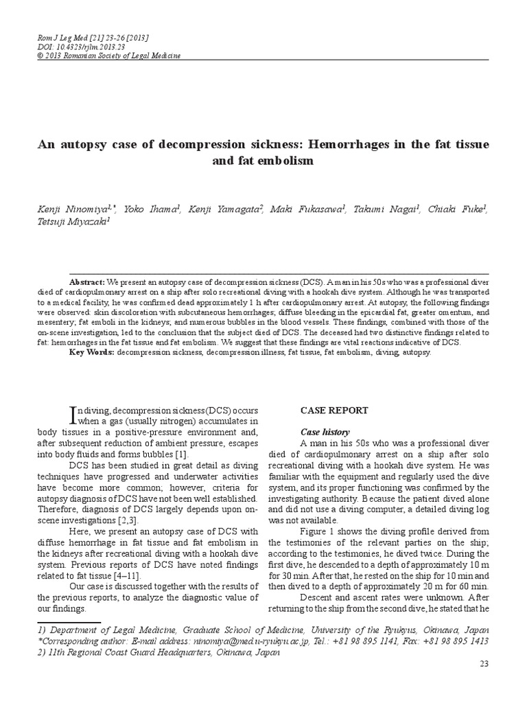23-26 an Autopsy Case of Decompression Sickness  Hemorrhages