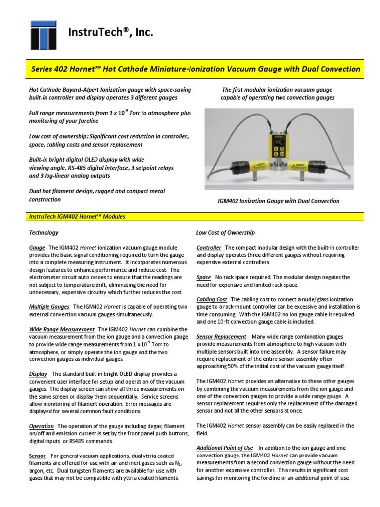 Hornet Hot Cathode Miniature-Ionization Vacuum Gauge with