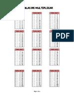 Tablas de Multiplicar Del 1 Al 20, 25 y 75