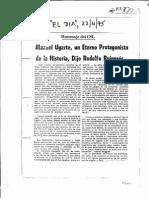 EL DIA - 22.04.75 - Manuel Ugarte, Un Eterno Protagonista de La Historia, Dijo Rodolfo Puiggrós