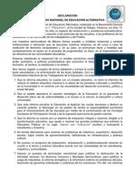 Declaracion Del Vi Congreso Nacional de Educacion Alternativa