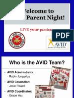avid- villa parent night