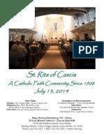St. Rita Parish Bulletin 7/13/2014