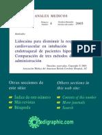 Lidocaína Para Disminuir La Respuesta Cardiovascular en Intubación Endotraqueal de Pacientes Hipertensos. Comparación de Tres Métodos de Administración