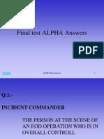Test Final Test ALPHA Answers