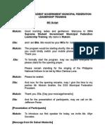Emcee Script 2014 Supreme Student Government Municipal Federation Leadership Training
