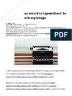 Germany 'May Revert to Typewriters' to Counter Hi-tech Espionage