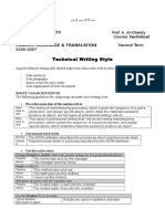 Technical Report Writing (TW Style)