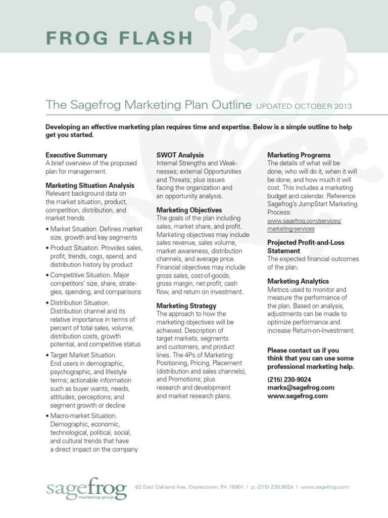 Sagefrog Marketing Plan Outline | Marketing | Sales