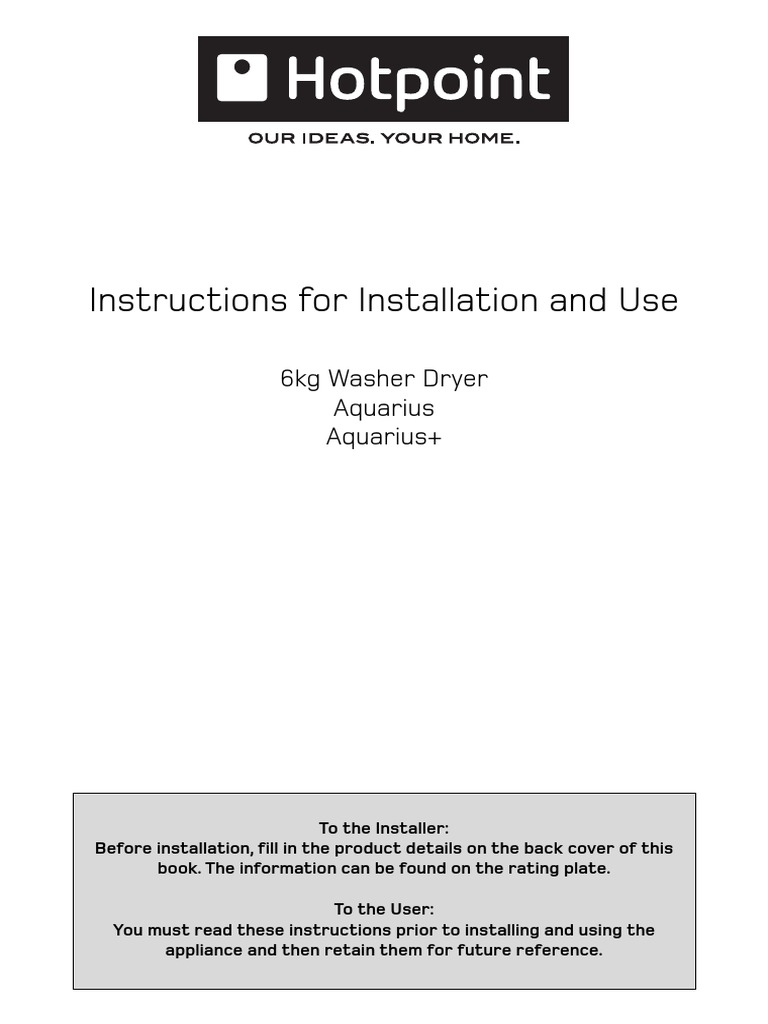 Hotpoint Aquarius Washing Maching Instructions | Washing Machine | Ac Power  Plugs And Sockets
