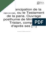 Flora Tristan - Emancipation de La Femme