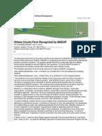 Ottawa County Farm Recognized by MAEAP