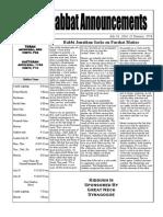 Shabbat Announcements  July 19, 2014