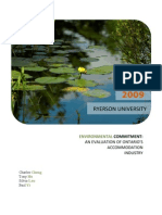 Environmental Commitment - An Evaluation of Ontario's Accommodation Industry
