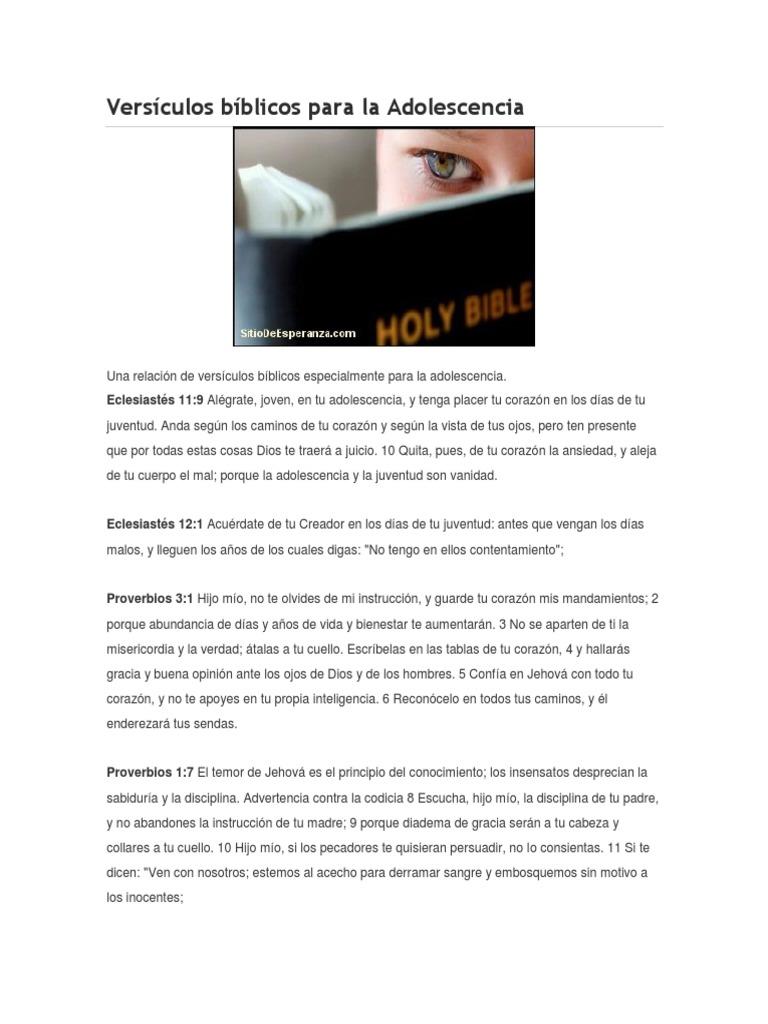 Versículos Bíblicos Para La Adolescencia
