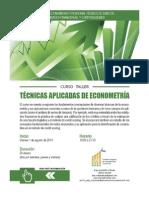 Curso-Taller Econometría Aplicada Agosto 2014