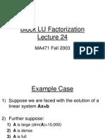 Block Lu Factorization
