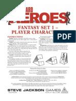 Cardboard Heroes Fantasy Set 1 Player Characters