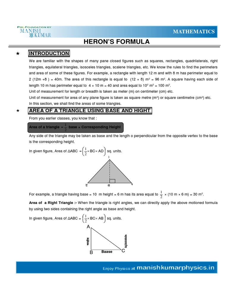 How To Find The Base Heron's Formular Surface Areas And Volumes & Triangles  Area Triangle