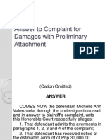 Answer to Complaint for Damages With Preliminary Attachment