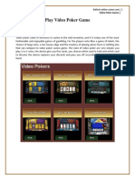 Overview of Video poker Games