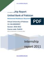 Internship Report on United Bank of Pakistan 2011