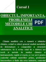 Chimie Analitica an I - Curs 01