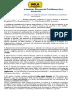 Declaración de La Asamblea Europea Del Polo Democrático Alternativo_2013