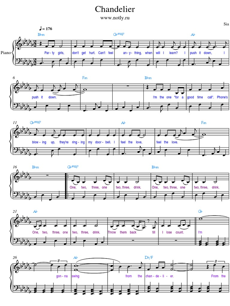 Chandelier Piano Sheet Music Pdf Free - free sheet music chandelier sia amanda lee piano cover ...