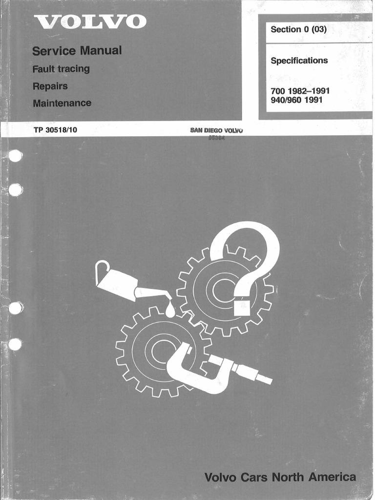 volvo service manual fault tracing repairs maintenance tp30518 10 rh scribd com volvo 940 repair manual haynes volvo 940 repair manual
