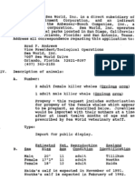 1991 SeaWorld Permit Application For Sealand Killer Whales (No. 775)