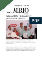 16-07-2014 Diario Matutino Cambio de Puebla - Entrega RMV y la Corett 515 escrituras de vivienda.