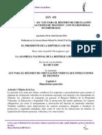 Ley 431 Ley Para El Régimen de Circulación Vehicular e Infracciones de Tránsito.