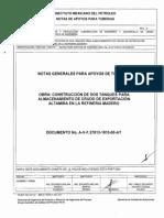 Notas Generales Para Apoyos de Tuberias No. a-V-f-.27813-1815-00-At