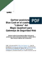 """Gartner posiciona a Blue Coat en el cuadrante de """"Líderes"""" del Magic Quadrant para Gateways de Seguridad Web"""