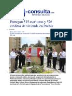 15-07-2014 e-consulta.com - Entregan 515 escrituras y 576 créditos de vivienda en Puebla.