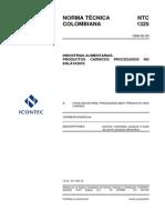 NTC1325 Productos Carnicos Procesados No Enlatados