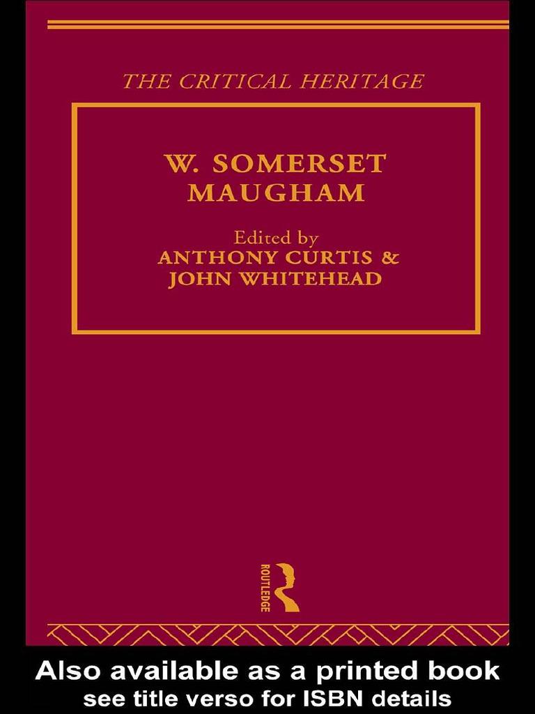 Anthony Curtis W Somerset Maugham 1997 Tendencies Caps Savage Red Merah George Bernard Shaw