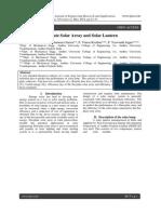 Analysis of Flat-Plate Solar Array and Solar Lantern
