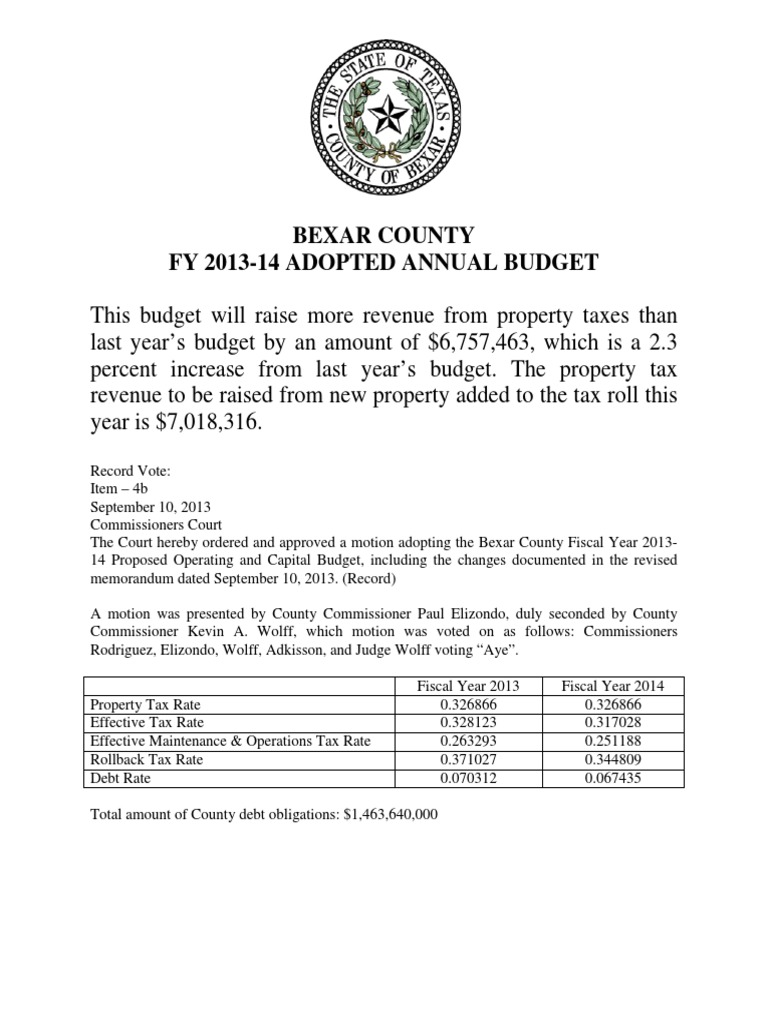 Bexar County Fy 2013-14 Adopted Annual Budget