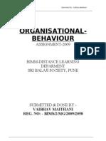 Organisational Behv. Assignment-09