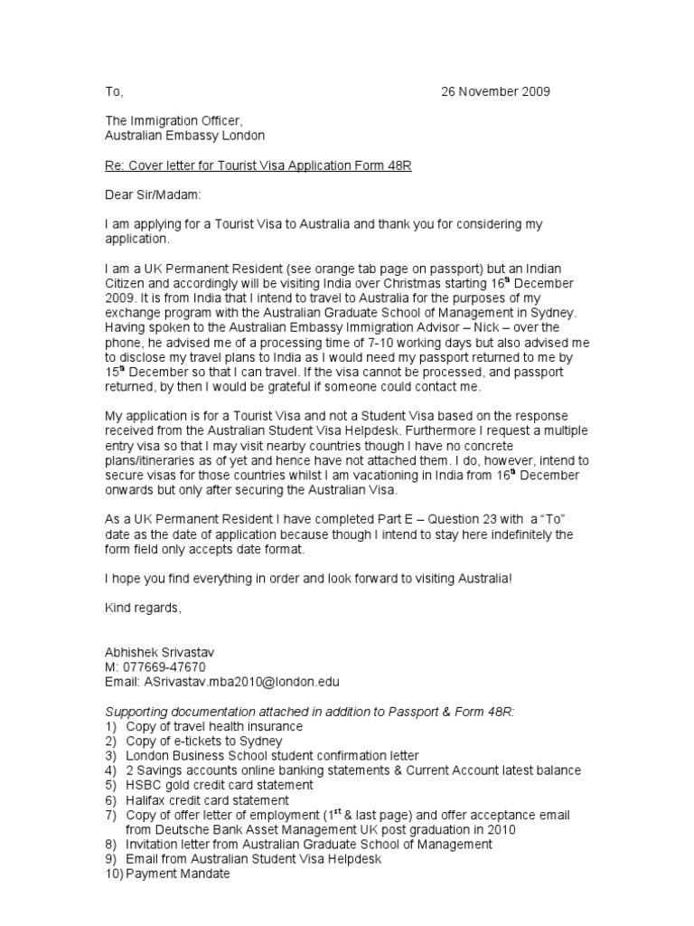 aussie visa cover letter - Cover Letter Of Application