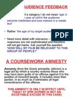 A Course Work Amnesty