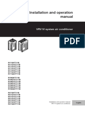 Daikin RXYQT installation manual on