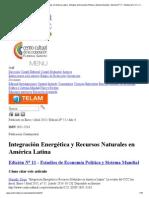 Integración Energética y Recursos Naturales en América Latina