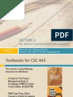 CSC 443- Lecture 2- Project Integration Management