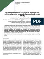 Corrosion Inhibition Effect of Tetra Methyl Ammonium Bromide (TMAB) in Acidic Media
