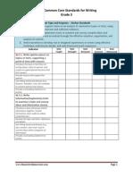 3rd grade writing checklist for ela ccss