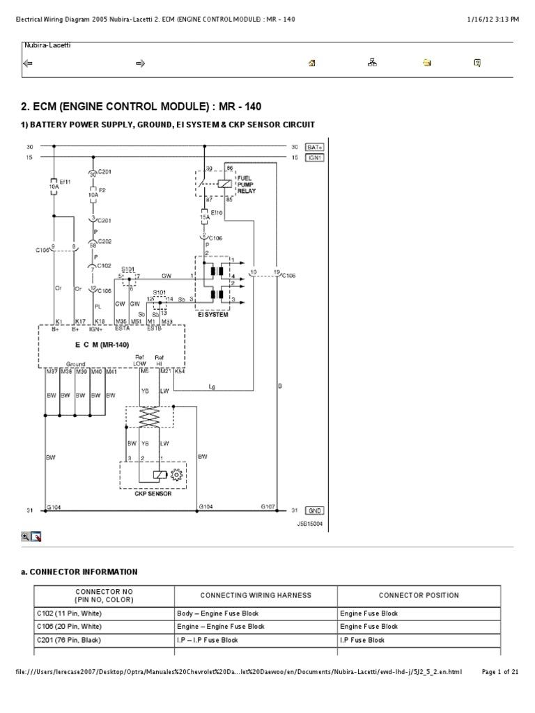 "Preview of ""Electrical Wiring Diagram 2005 Nubira-Lacetti 2. ECM (ENGINE  CONTROL MODULE) - MR - 140"""