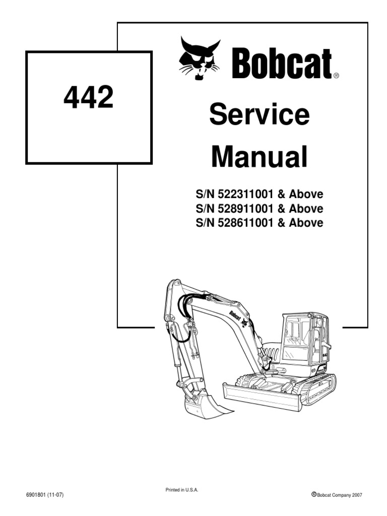 Bobcat 442 Mini Excavator Service Manual | Hvac | Valve